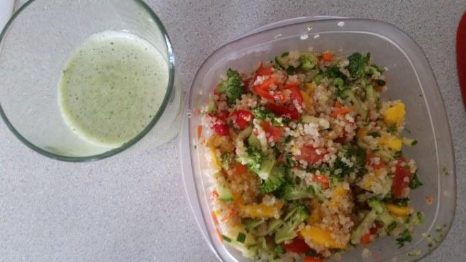 Quinoa Salad Mango smoothy